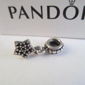 RETIRED Pandora Black Crystal Star Dangle Charm